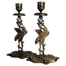 Beautiful Candle Holder Matching Pair Cranes