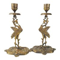Decorative Brass Candle Holder Pair Cranes