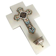19th Century French Holy Water Font White Marble Cloisonne Cross