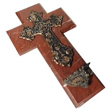 19C Large Red Marble Cross Holy Water Stoup