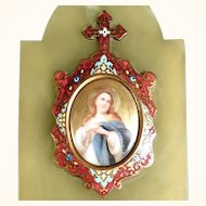 Delightful Holy Water Marble Base Champleve Enamel Work and Porcelain Plate
