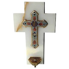 19th Century French Holy Water Font White Marble and Enamel Cross