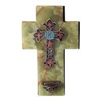 Beautiful Holy Water Font Enamel Cross Rare Blue Color