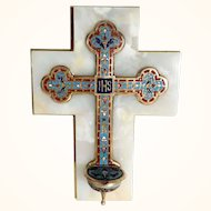Antique French Home Altar Holy Water Champlave  Enamel Work on Marble Base