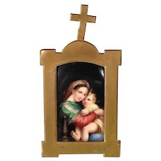 Home Altar with Painted Porcelain Plaque Virgin Mary and Infant Jesus