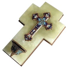 19th Century Small Champleve Enamel Cross with Holy Water Font Chalice