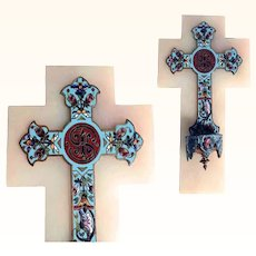 19C French Holy Water Enamel on Marble