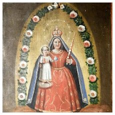 19th Century Folk Art Icon Virgin Mary