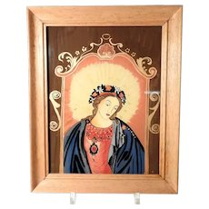 Lovely Icon Mary's Sacred Heart Glass Reverse Hand Painting about 1960