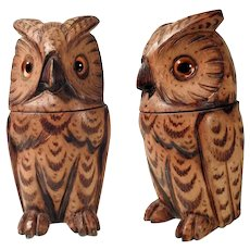 Lovely Hand Carved Ink Well Owl Shape