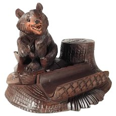 Charming Hand Carved Desk Set Black Bear Black Forest
