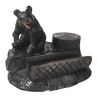 Lovely Hand Carved Desk Set w. Pen Rest Black Bear Black Forest