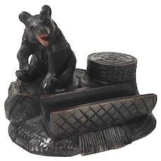 Lovely Hand Carved Desk Set w. Pen Rest Black Bear Black Forest