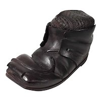 Hand Carved Desk Servant or Inkwell Hiking Boot with Sox