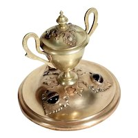 Victorian Era Imposing Brass Ink Well with Tiger's Eye Cabochons