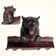 Hand Carved Wooden Figural Ink Well Bear Head Black Forest ca. 1900