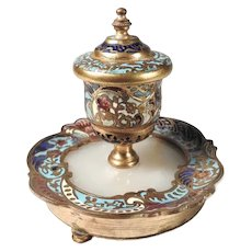 19th Century French Inkwell Enamel and Marble  Base