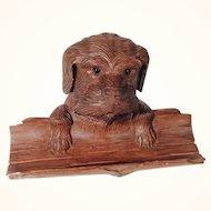 Excellent Hand Carved Figural Ink Well Dog Head Pen Rest  Black Forest