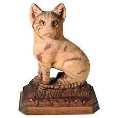 Unique Hand Carved Tabby Cat Ink Well Black Forest