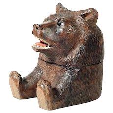 19th Century Black Forest Inkwell Sitting Bear