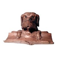 Hand Carved Figural Ink Well Dog Head Pen Rest Black Forest