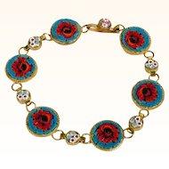 Delightful  Micro Mosaic Bracelet Poppies
