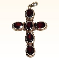 Beautiful Large Silver Cross with Cut Garnets