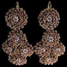 Rare Mourning Earrings Woven Hair and Glass Beads