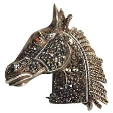 Fantastic Silver Brooch Horse Head