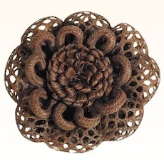 Delightful Mourning Brooch Woven and Laced Hairs