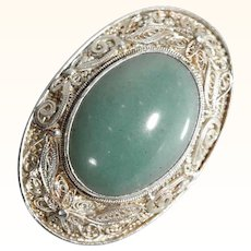 Lovely Silver Filigree Brooch Jade Cabochon