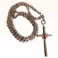 Victorian Era Large Chain with Cross Pendant Coral Beads