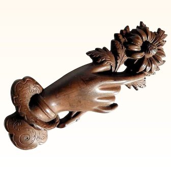 Victorian Mourning Brooch Hand with Flower