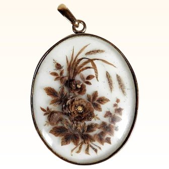Victorian Mourning Pendant Hair Picture dated 1867