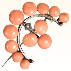 Amazing Coral Brooch Crescent Shape about 1920
