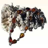 Silver Bracelet with Veritable Amber Stones