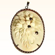 Beautiful Hand Carved Bone Pendant Silver Mount