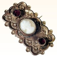 Victorian Era Brooch Garnets and Shell Cameo