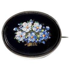 Charming Edwardian Era Micro Mosaic Brooch Forgot-me-Not
