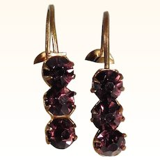 Amethyst Paste Screw Earrings ca. 1900/20