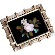 Victorian Era 9CT Gold & Silver Brooch w.  Pietra Dura Plaque