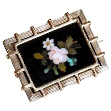 Victorian Era 9CT Gold & Silver Brooch w.  Pietra Dura Plaque