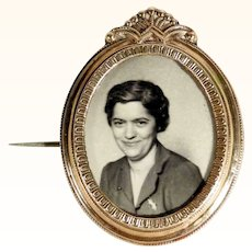 Victorian Era Large Brooch Photo with Hair Curl Compartment