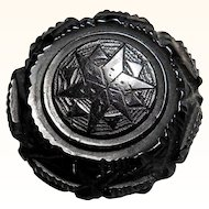 Beautiful  Victorian Mourning Brooch Hand Carved Jet
