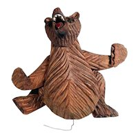 Delicious Old Jumping Jack Hand Carved Barefaced Bear Black Forest