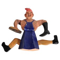 Funny Old Jumping Jack Shoeshine Boy Hand Carved and Painted