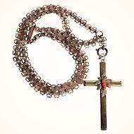 Victorian Era Cross Pendant Coral Beads Unusual Chain