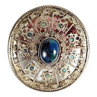 Opulent Silver Brooch/Pendant with Blue Cabochon