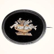 19th Century Finest Micro Mosaic Brooch Plini Doves Grand Tour Souvenir