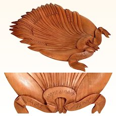 Wooden Carved Bread Tray God Bless our Bread